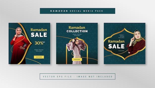 Zestaw prostego kwadratowego banera z motywem ramadanu na instagram, facebook, karuzele.