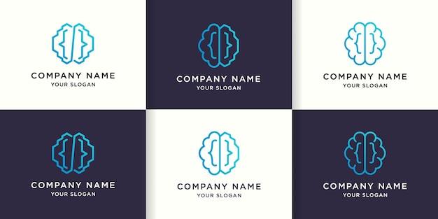 Zestaw prostego projektu logo mono-line kodu mózgu