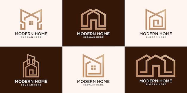 Zestaw prostego szablonu nowoczesnego logo domu
