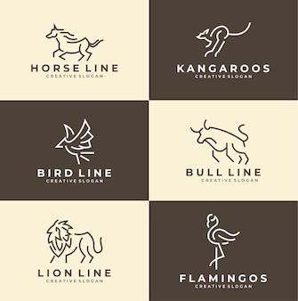 Zestaw prostej kolekcji minimalistycznych logo zwierząt