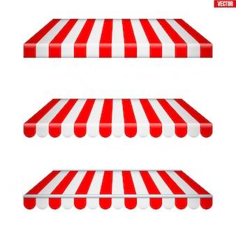 Zestaw prostokątnych markiz z tkaniny.