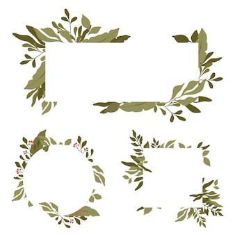 Zestaw prostokątnych obramowań z miejscem na tekst pośrodku. zielone liście okrągłe i prostokątne ramki.
