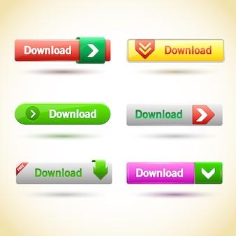 Zestaw prostokątnych przycisków internetowych.