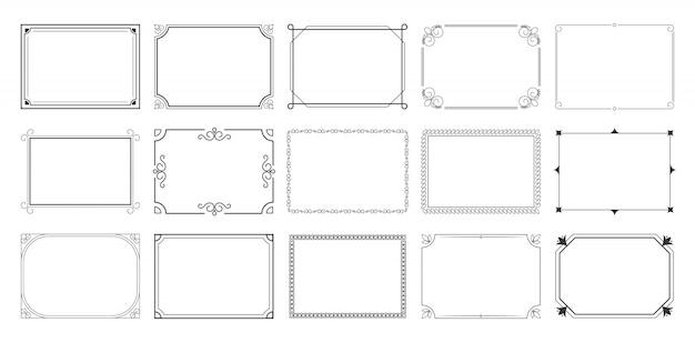 Zestaw prostokątnych ramek kaligraficznych