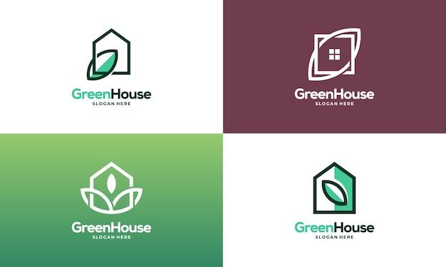Zestaw prosty nowoczesny zarys zielony dom projektuje logo wektor koncepcja, eco real estate logo projektuje ikonę symbolu