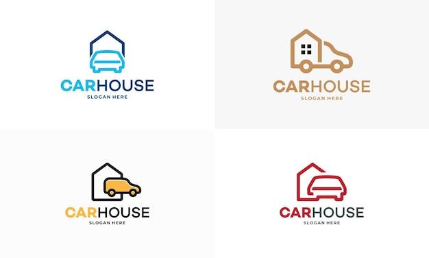 Zestaw prosty samochód dom garaż logo projektuje koncepcja wektor, zarys domu ruchoma ciężarówka logo szablon wektor, godło, koncepcja projektu