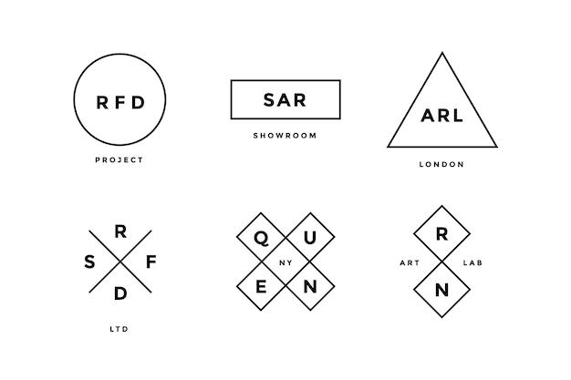 Zestaw prostych abstrakcyjnych linii logo w nowoczesnym minimalistycznym stylu dla firmy. zestaw logo linii