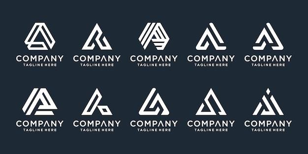 Zestaw prostych i solidnych znaków literowych dla litery a. profesjonalny znak graficzny dla twojej firmy. typograficzne. logo litery a.