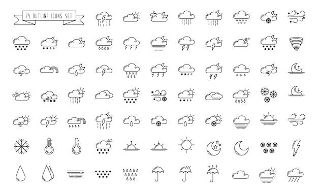 Zestaw prostych ikon konspektu - pogoda lub prognoza śpiewa z chmurami, śniegiem, deszczem, mgłą