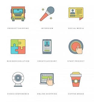 Zestaw prostych ikon płaskiej linii. cienkie liniowe symbole obiektów essentials