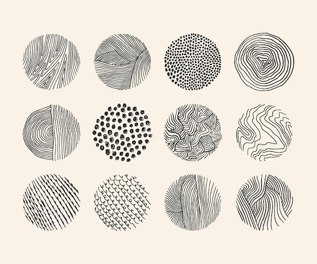 Zestaw prostych ilustracji wektorowych różnych okrągłych elementów z falistymi cienkimi liniami i kropkami