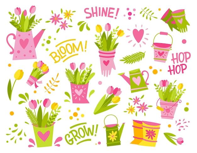Zestaw prostych, jasnych ilustracji wiosennych i ogrodniczych oraz napisów. puszki po wodzie, kwiaty, tulipany, rękawiczki, liście i plamy.