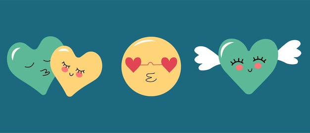 Zestaw prostych kolorowych emotikonów okrągłych i w kształcie serca z jedzeniem i skrzydłami na walentynki, wesele, wakacje, urodziny, imprezę. płaskie ilustracji wektorowych na niebieskim tle