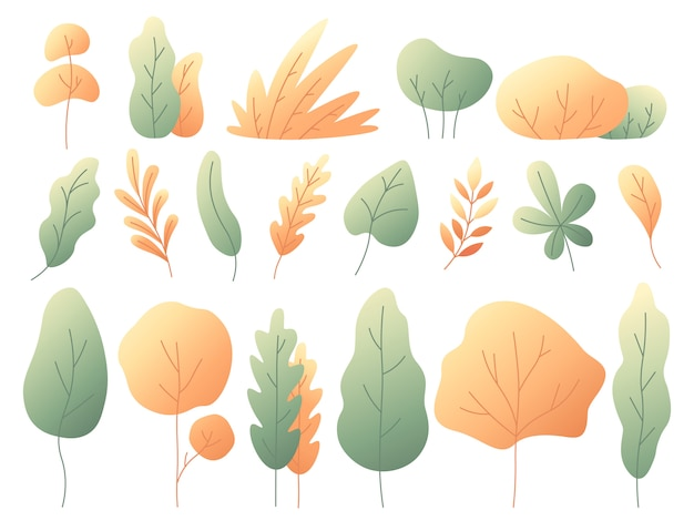 Zestaw prostych kolorowych liści jesienią