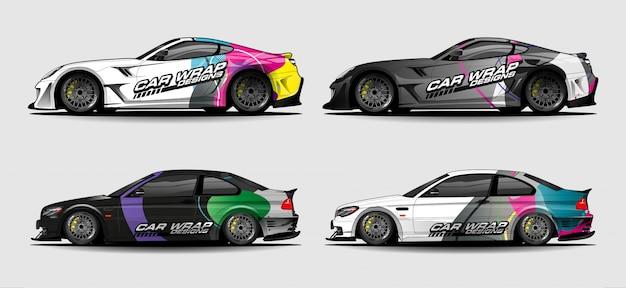 Zestaw prostych kolorowych opakowań samochodowych