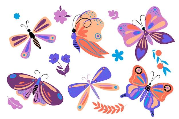 Zestaw prostych motyli i elementów kwiatowych. grafika wektorowa.