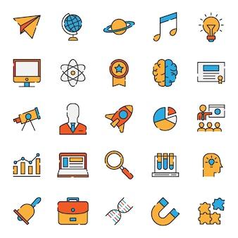 Zestaw prostych wypełnione ikona edukacji linii