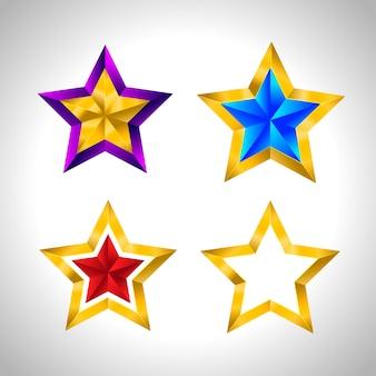 Zestaw prostych złotych kolorowych gwiazdek