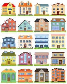 Zestaw prywatny dom na białym tle. ilustracja wektorowa.