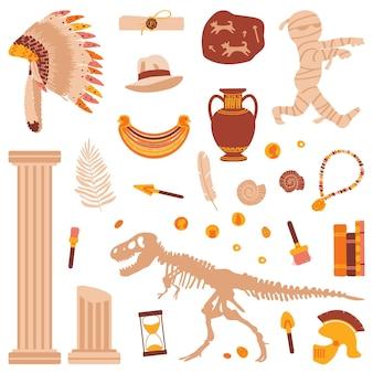 Zestaw przedmiotów do historii na białym tle ilustracja wektorowa starożytności