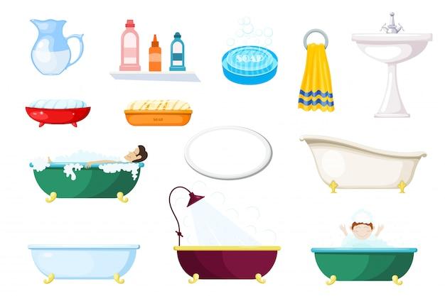 Zestaw przedmiotów do łazienki. różne wanny i artykuły higieniczne