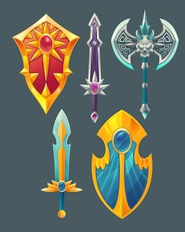 Zestaw przedmiotów fantasy, obiektów projektowania gier bajki na białym tle na szarym tle