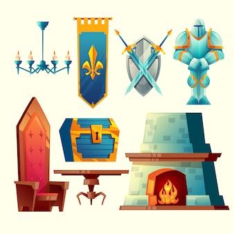 Zestaw przedmiotów fantasy, obiekty projektowania gier bajkowych do wnętrz