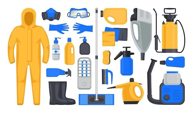 Zestaw przedmiotów i wyposażenia do dezynfekcji i sanitacji