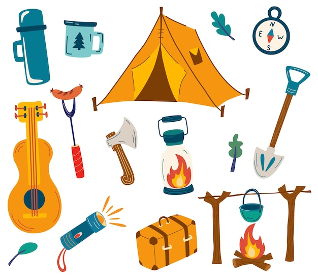 Zestaw przedmiotów kempingowych duży zestaw przedmiotów turystycznych na wakacje ikony bagażu do podróży i wędrówek