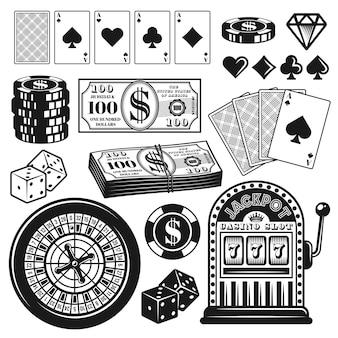 Zestaw przedmiotów lub elementów do gry w pokera i kasyno