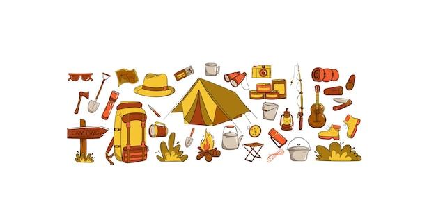 Zestaw przedmiotów na biwak i podróż