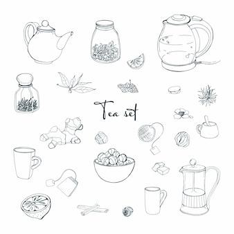 Zestaw przedmiotów na przyjęcie herbaty. kolekcja z ręcznie rysowanym czajnikiem, słoikiem, cytryną, liściem, filiżanką, imbirem, cynamonem. ilustracja.