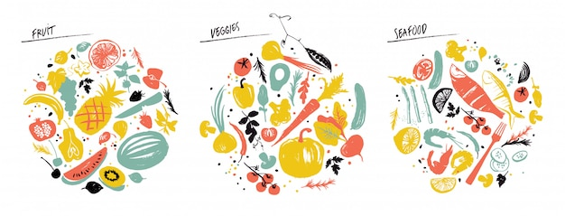 Zestaw przedmiotów spożywczych: owoce morza, warzywa i owoce