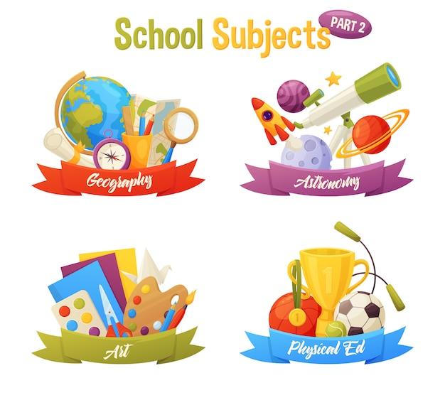 Zestaw przedmiotów szkolnych obejmuje elementy z kreskówek wektorowych: glob, mapę, kompas, planety, rakietę, teleskop, papier, farbę, kulki, kubek. geografia, astronomia, sztuka, wychowanie fizyczne.