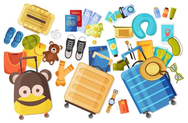 Zestaw przedmiotów turystycznych