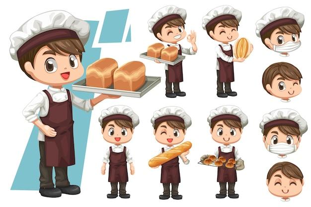 Zestaw przedstawiający szczęśliwego młodego piekarza nosi mundur