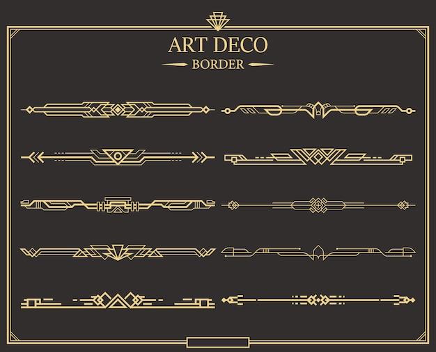 Zestaw przegród art deco złota kaligraficzne strony.