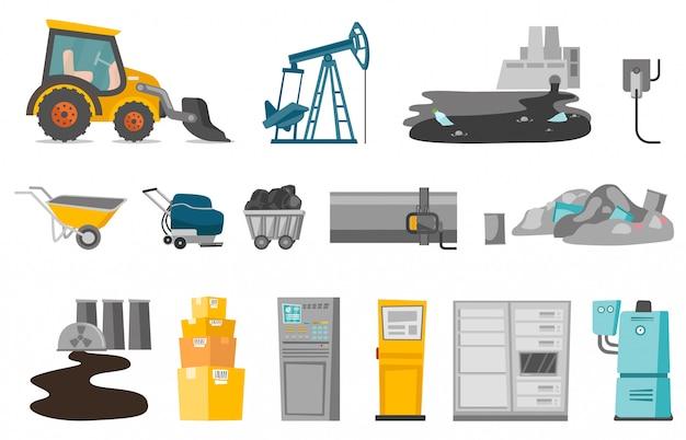 Zestaw przemysłowej kreskówki