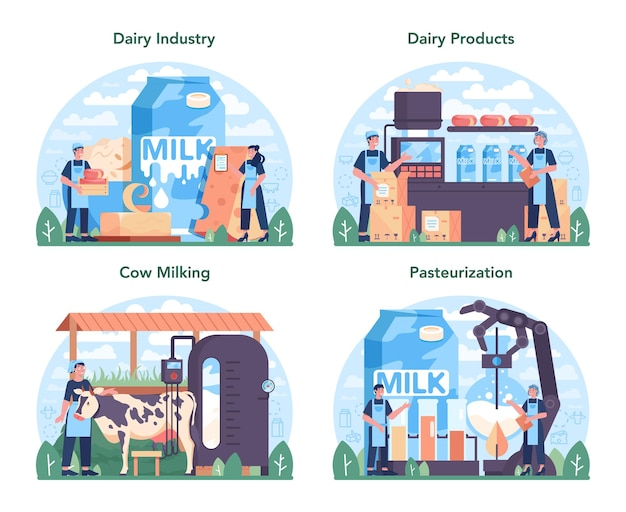 Zestaw przemysłu produkcji mleczarskiej. zdrowa żywność ekologiczna.