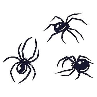 Zestaw przerażającego okropnego pająka na halloweenowy projekt świąteczny. październikowy baner, plakat lub pocztówka
