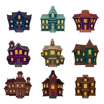Zestaw przerażających domów o różnych kształtach i kolorach