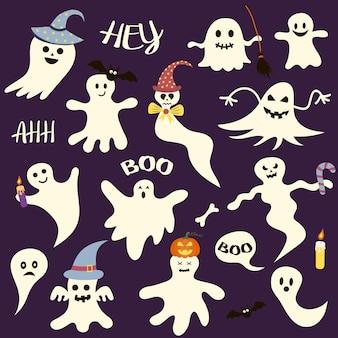 Zestaw przerażających duchów halloween. idealny na wakacje, dekoracje, naklejki, ikony.
