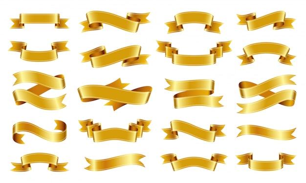 Zestaw przewijania złota wstążka.