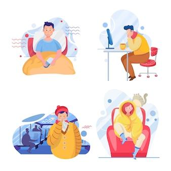 Zestaw przeziębienia. postacie młodych chorych mężczyzn i kobiet. osoby chore z alergią, grypą. medyczne i domowe leczenie grypy. opieka zdrowotna