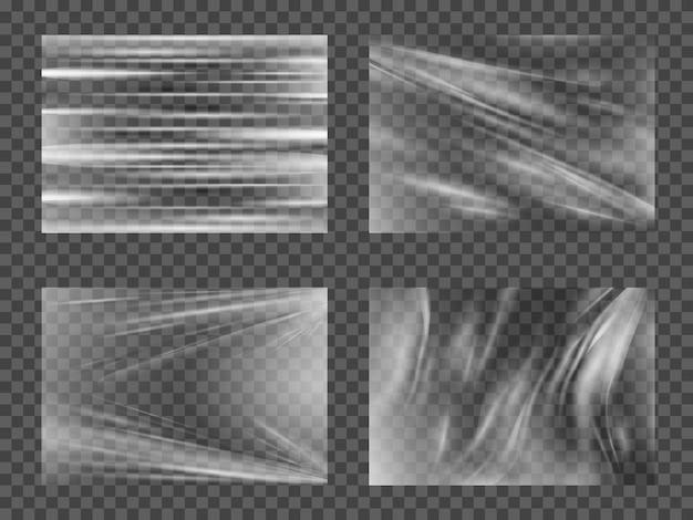 Zestaw przezroczystego błyszczącego polietylenu z tworzywa sztucznego.