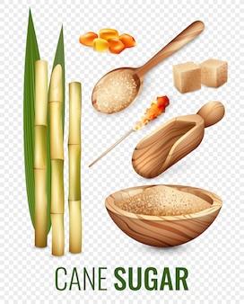 Zestaw przezroczystego cukru trzcinowego