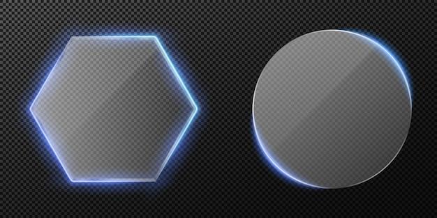 Zestaw przezroczystego przezroczystego szkła na przezroczystym tle. niebieskie podświetlenie neonowe. diamentowe i okrągłe szkło.