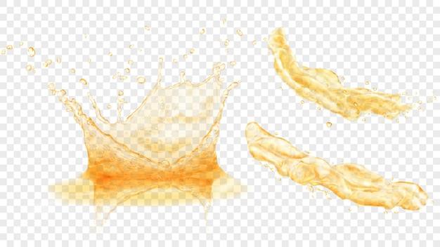 Zestaw przezroczystej korony wodnej z kroplami i dwoma plamami lub strumieniami w żółtych kolorach, na przezroczystym tle. przezroczystość tylko w formacie wektorowym