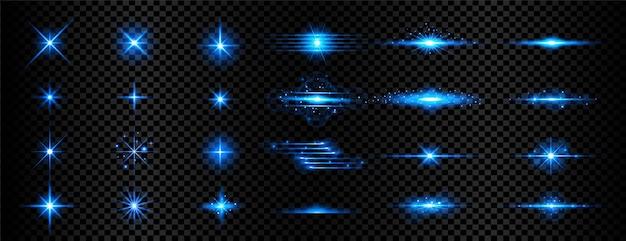 Zestaw przezroczystej niebieskiej smugi światła i flar soczewkowych