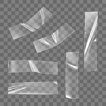 Zestaw przezroczystej taśmy klejącej z tworzywa sztucznego na białym tle. zmięta plastikowa taśma klejąca do mocowania zdjęć i papieru. realistyczne pomarszczone paski na białym tle